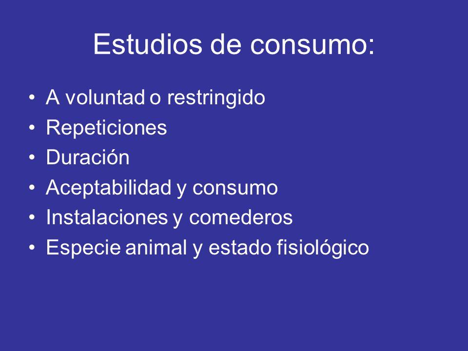 Estudios de consumo: A voluntad o restringido Repeticiones Duración Aceptabilidad y consumo Instalaciones y comederos Especie animal y estado fisiológ