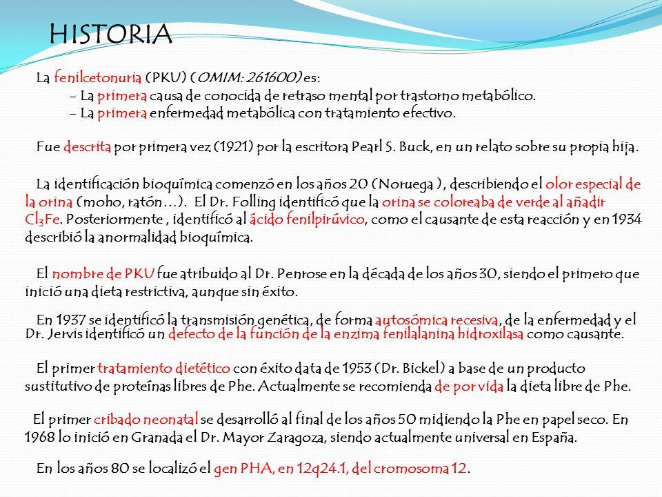 HISTORIA El primer tratamiento dietético con éxito data de 1953 (Dr. Bickel) a base de un producto sustitutivo de proteínas libres de Phe. Actualmente