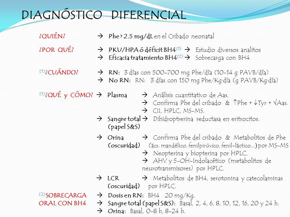 DIAGNÓSTICO DIFERENCIAL ¿QUIÉN? Phe > 2.5 mg/dL en el Cribado neonatal (1) ¿CUÁNDO? RN: 3 días con 500-700 mg Phe/día (10-14 g PAVB/día) No RN: RN: 3