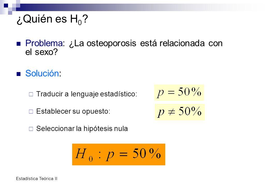Estadística Teórica II ¿Quién es H 0 ? Problema: ¿La osteoporosis está relacionada con el sexo? Solución: Traducir a lenguaje estadístico: Establecer