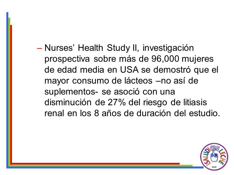 –Nurses Health Study II, investigación prospectiva sobre más de 96,000 mujeres de edad media en USA se demostró que el mayor consumo de lácteos –no as