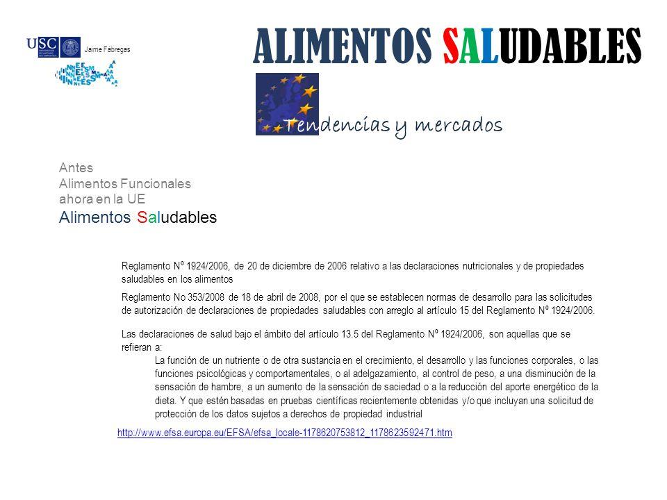 Tendencias y mercados ALIMENTOS SALUDABLES Reglamento Nº 1924/2006, de 20 de diciembre de 2006 relativo a las declaraciones nutricionales y de propied
