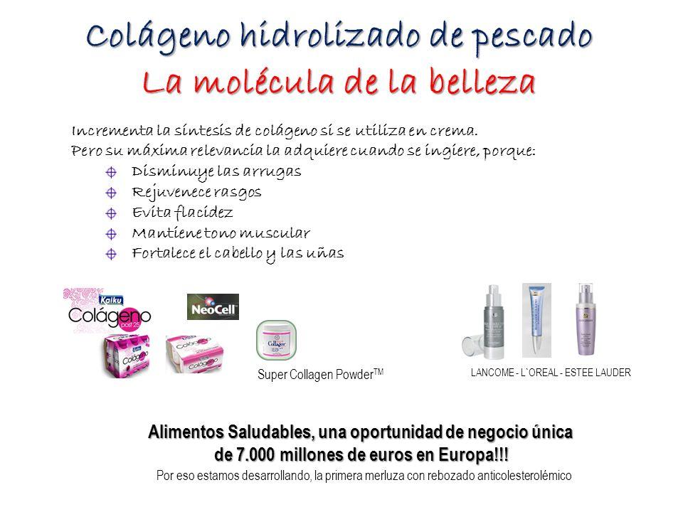 Colágeno hidrolizado de pescado La molécula de la belleza Por eso estamos desarrollando, la primera merluza con rebozado anticolesterolémico Alimentos Saludables, una oportunidad de negocio única de 7.000 millones de euros en Europa!!.