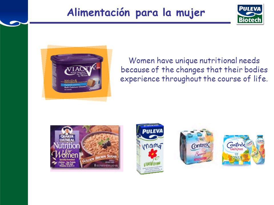 Alimentación para la mujer Women have unique nutritional needs because of the changes that their bodies experience throughout the course of life.