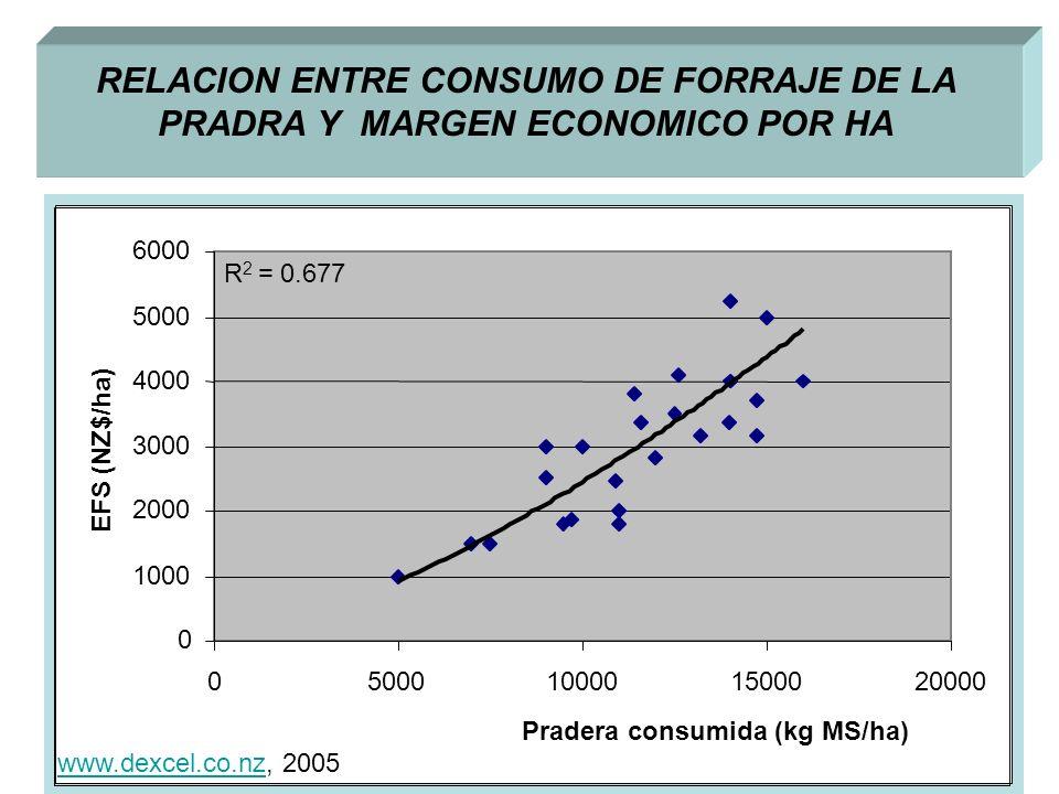 RELACION ENTRE CONSUMO DE FORRAJE DE LA PRADRA Y MARGEN ECONOMICO POR HA R 2 = 0.677 0 1000 2000 3000 4000 5000 6000 05000100001500020000 Pradera consumida (kg MS/ha) EFS (NZ$/ha) www.dexcel.co.nzwww.dexcel.co.nz, 2005
