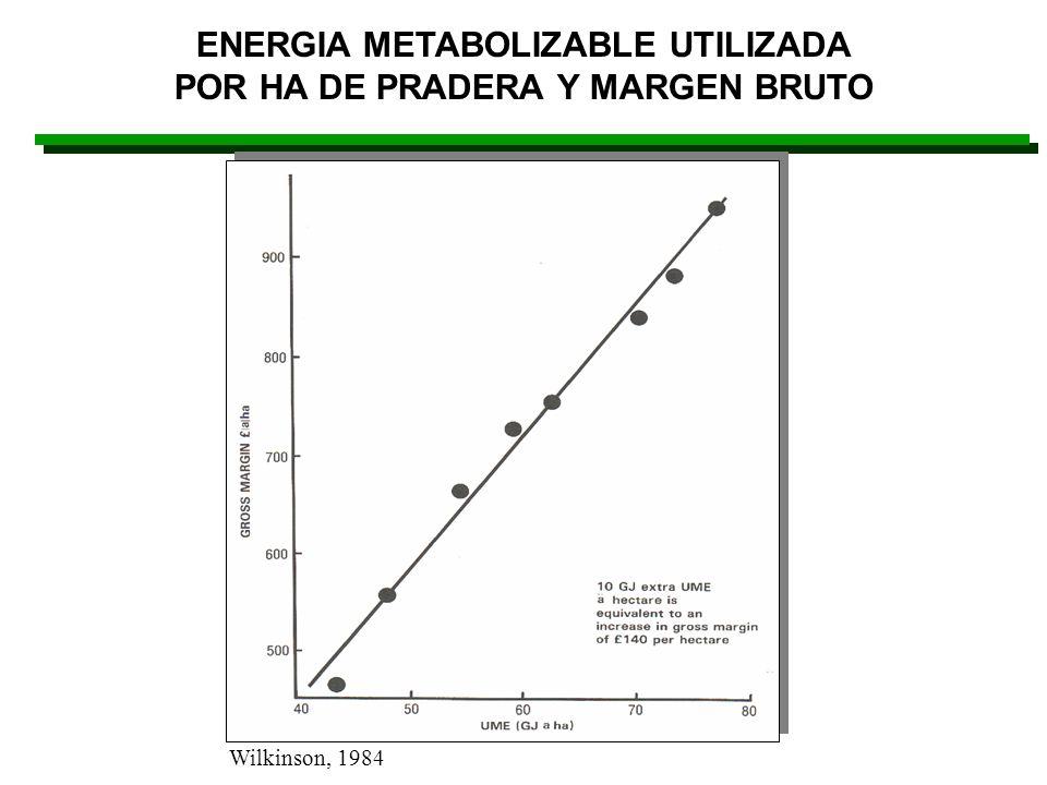 ENERGIA METABOLIZABLE UTILIZADA POR HA DE PRADERA Y MARGEN BRUTO Wilkinson, 1984