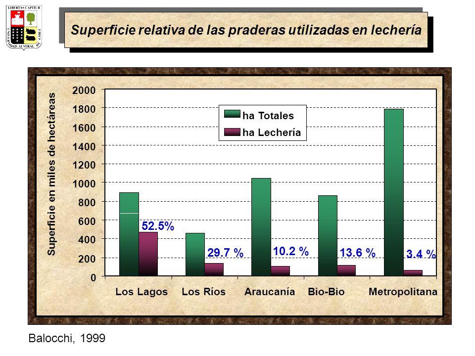 0 200 400 600 800 1000 1200 1400 1600 1800 2000 Los LagosLos RíosAraucaníaBio-BioMetropolitana Superficie en miles de hectáreas ha Totales ha Lechería 52.5% 29.7 % 3.4 % 13.6 % 10.2 % Superficie relativa de las praderas utilizadas en lechería Balocchi, 1999
