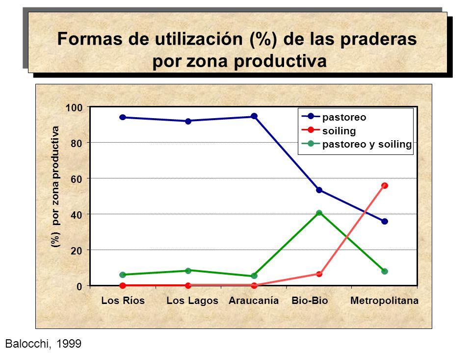 Formas de utilización (%) de las praderas por zona productiva 0 20 40 60 80 100 Los RíosLos LagosAraucaníaBio-BioMetropolitana (%) por zona productiva