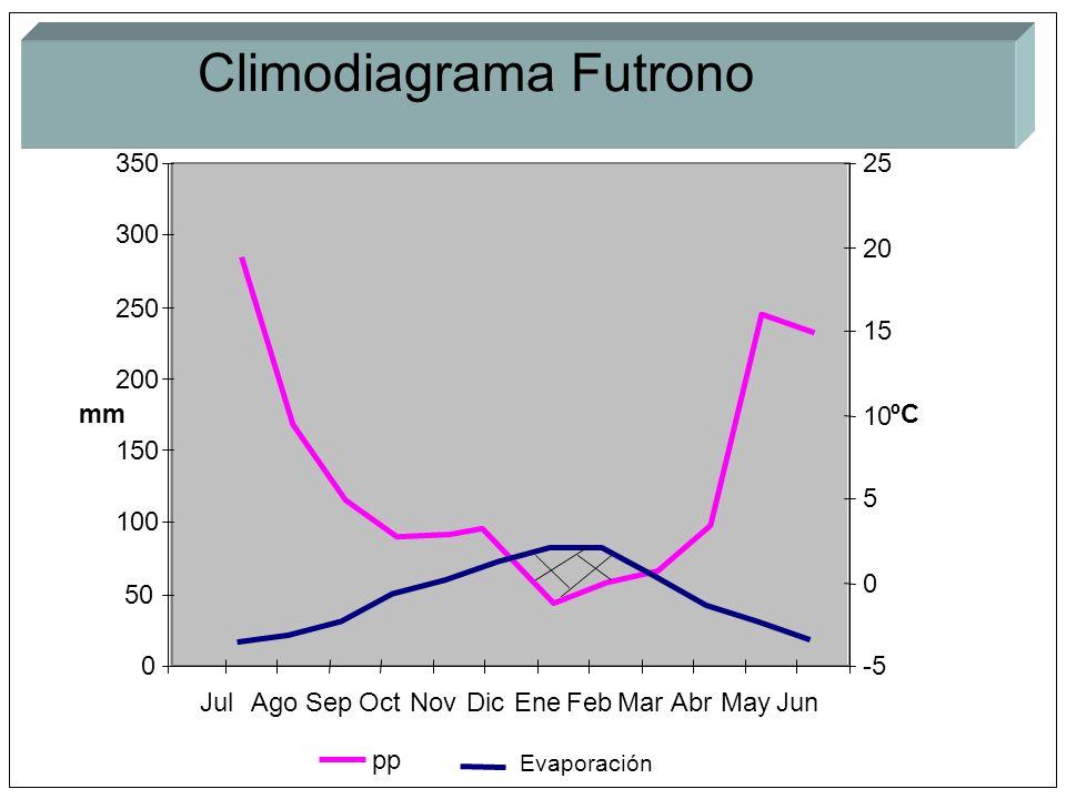 pp Evaporación 0 50 100 150 200 250 300 350 JulAgoSepOctNovDicEneFebMarAbrMayJun mm -5 0 5 10 15 20 25 ºC Climodiagrama Futrono