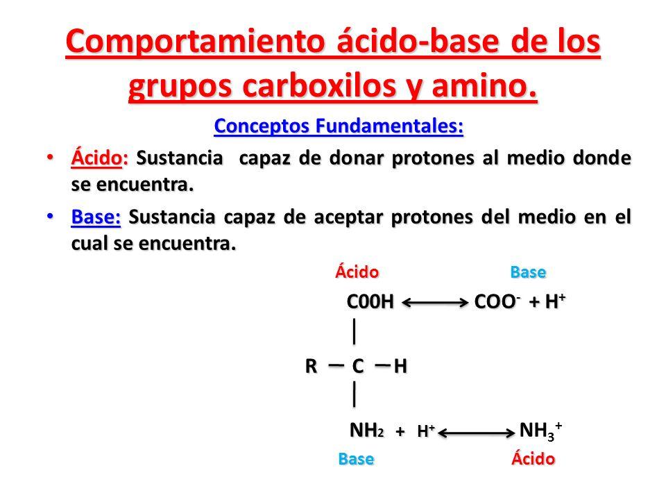 Comportamiento ácido-base de los grupos carboxilos y amino. Conceptos Fundamentales: Ácido: Sustancia capaz de donar protones al medio donde se encuen