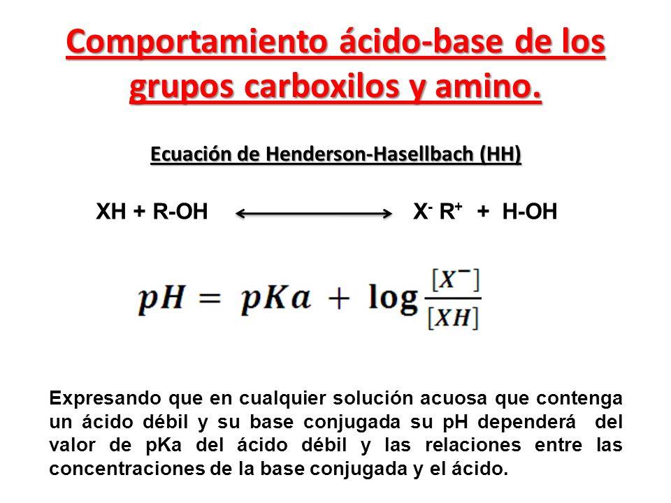 Comportamiento ácido-base de los grupos carboxilos y amino. Ecuación de Henderson-Hasellbach (HH) XH + R-OH X - R + + H-OH Expresando que en cualquier