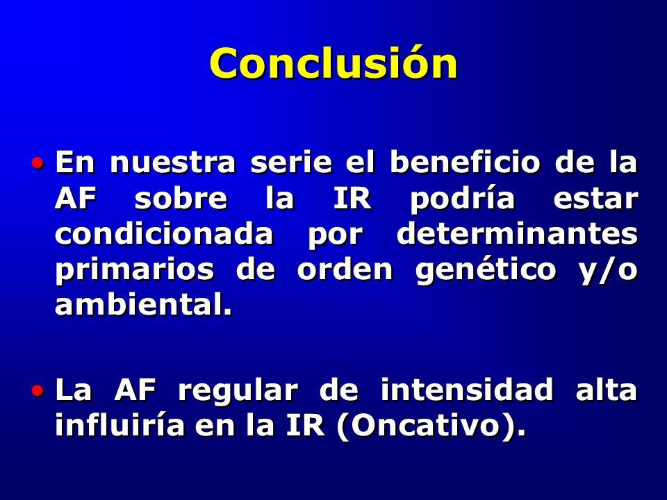Conclusión En nuestra serie el beneficio de la AF sobre la IR podría estar condicionada por determinantes primarios de orden genético y/o ambiental. L