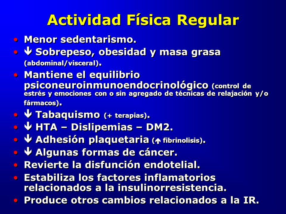 Actividad Física Regular Menor sedentarismo. Sobrepeso, obesidad y masa grasa (abdominal/visceral). Mantiene el equilibrio psiconeuroinmunoendocrinoló