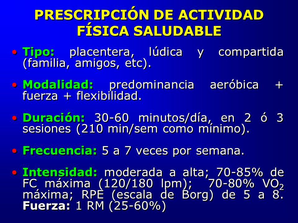 PRESCRIPCIÓN DE ACTIVIDAD FÍSICA SALUDABLE Tipo: placentera, lúdica y compartida (familia, amigos, etc). Modalidad: predominancia aeróbica + fuerza +
