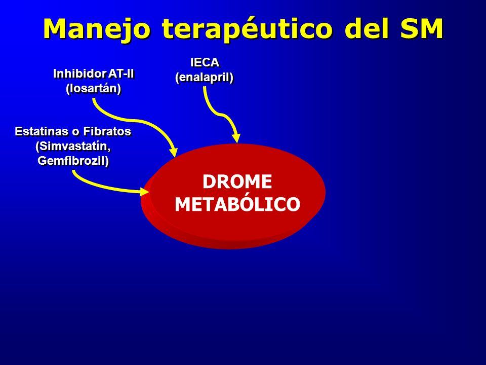 Manejo terapéutico del SM DROME METABÓLICO Inhibidor AT-II (losartán) Estatinas o Fibratos (Simvastatín, Gemfibrozil) IECA (enalapril)