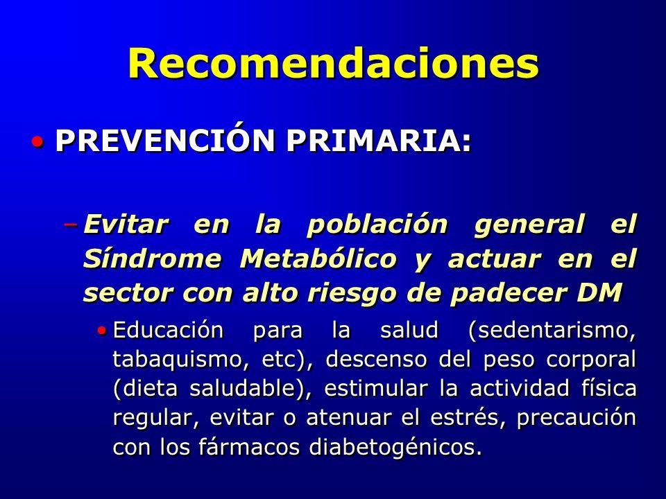 Recomendaciones PREVENCIÓN PRIMARIA: –Evitar en la población general el Síndrome Metabólico y actuar en el sector con alto riesgo de padecer DM Educac