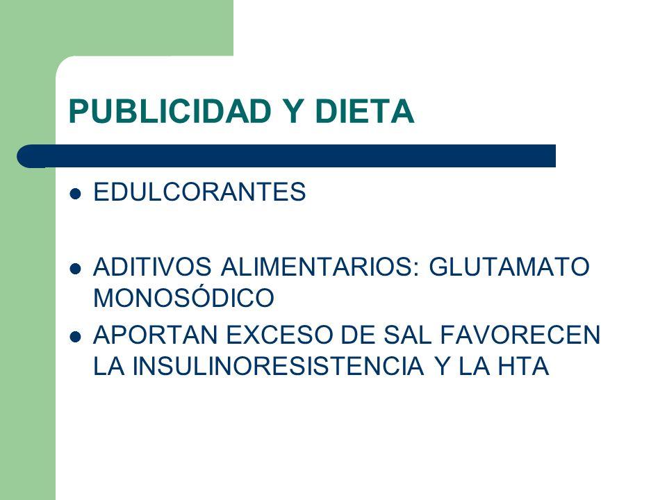 PUBLICIDAD Y DIETA EDULCORANTES ADITIVOS ALIMENTARIOS: GLUTAMATO MONOSÓDICO APORTAN EXCESO DE SAL FAVORECEN LA INSULINORESISTENCIA Y LA HTA
