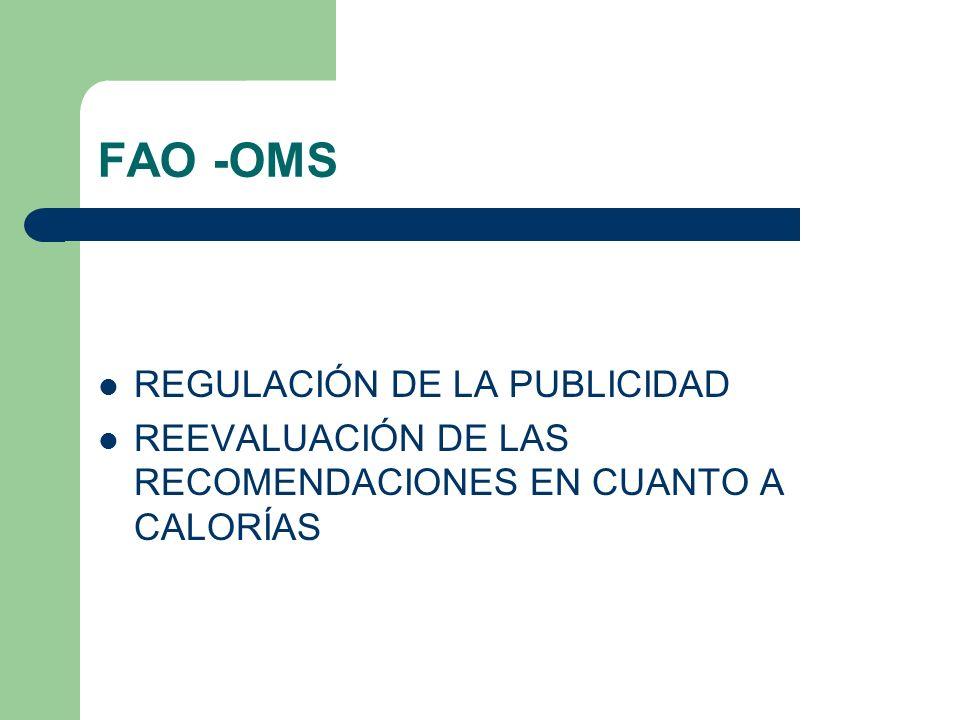 FAO -OMS REGULACIÓN DE LA PUBLICIDAD REEVALUACIÓN DE LAS RECOMENDACIONES EN CUANTO A CALORÍAS