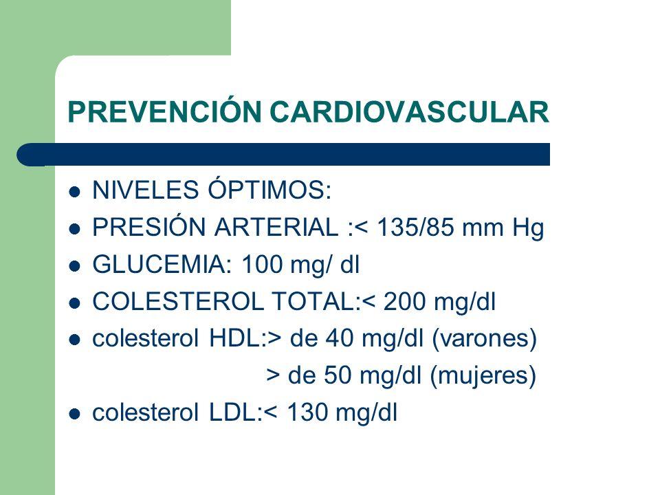 PREVENCIÓN CARDIOVASCULAR NIVELES ÓPTIMOS: PRESIÓN ARTERIAL :< 135/85 mm Hg GLUCEMIA: 100 mg/ dl COLESTEROL TOTAL:< 200 mg/dl colesterol HDL:> de 40 mg/dl (varones) > de 50 mg/dl (mujeres) colesterol LDL:< 130 mg/dl