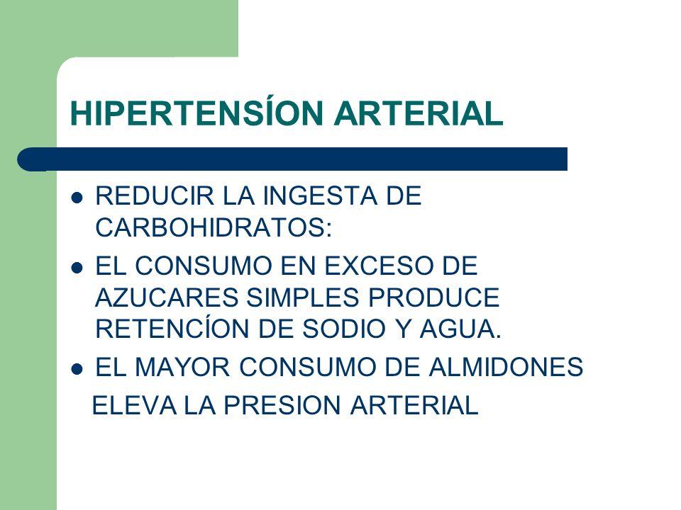 HIPERTENSÍON ARTERIAL REDUCIR LA INGESTA DE CARBOHIDRATOS: EL CONSUMO EN EXCESO DE AZUCARES SIMPLES PRODUCE RETENCÍON DE SODIO Y AGUA. EL MAYOR CONSUM