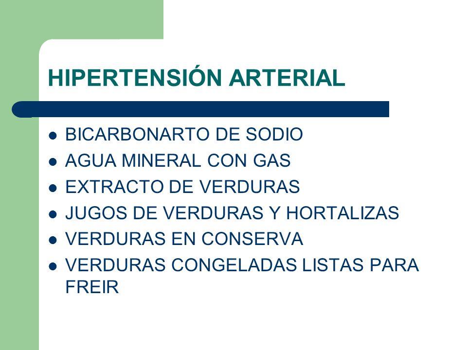 HIPERTENSIÓN ARTERIAL BICARBONARTO DE SODIO AGUA MINERAL CON GAS EXTRACTO DE VERDURAS JUGOS DE VERDURAS Y HORTALIZAS VERDURAS EN CONSERVA VERDURAS CONGELADAS LISTAS PARA FREIR
