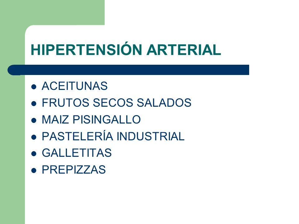 HIPERTENSIÓN ARTERIAL ACEITUNAS FRUTOS SECOS SALADOS MAIZ PISINGALLO PASTELERÍA INDUSTRIAL GALLETITAS PREPIZZAS