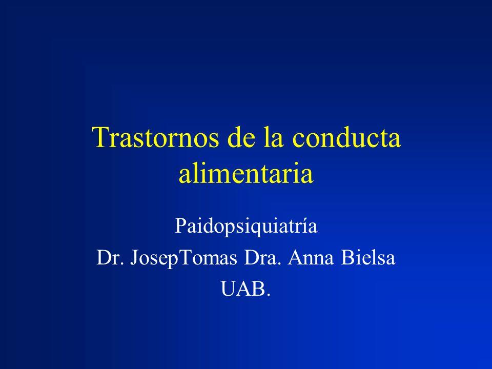 Trastornos de la conducta alimentaria Paidopsiquiatría Dr. JosepTomas Dra. Anna Bielsa UAB.