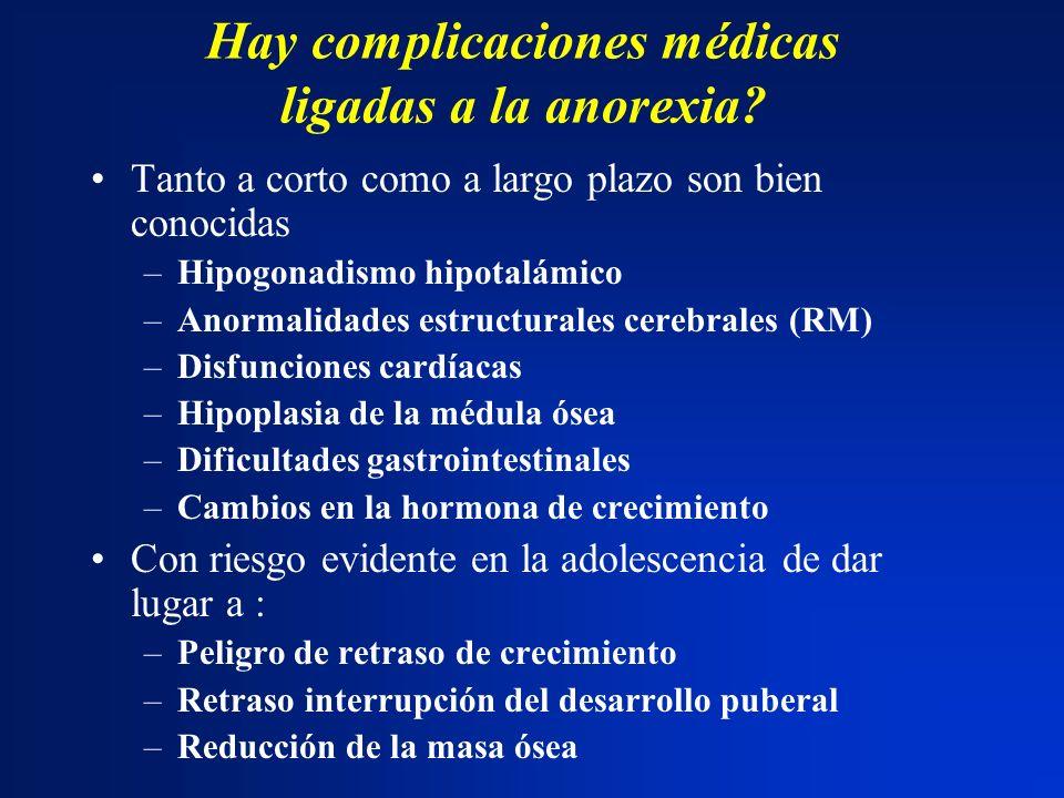 Hay complicaciones médicas ligadas a la anorexia? Tanto a corto como a largo plazo son bien conocidas –Hipogonadismo hipotalámico –Anormalidades estru