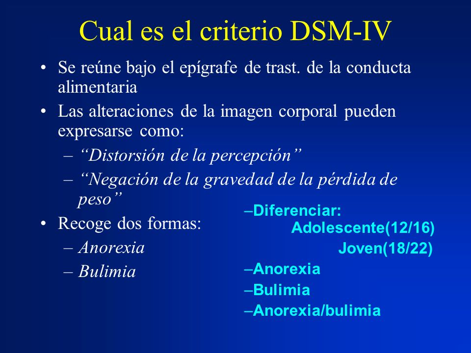 Cual es el criterio DSM-IV Se reúne bajo el epígrafe de trast. de la conducta alimentaria Las alteraciones de la imagen corporal pueden expresarse com