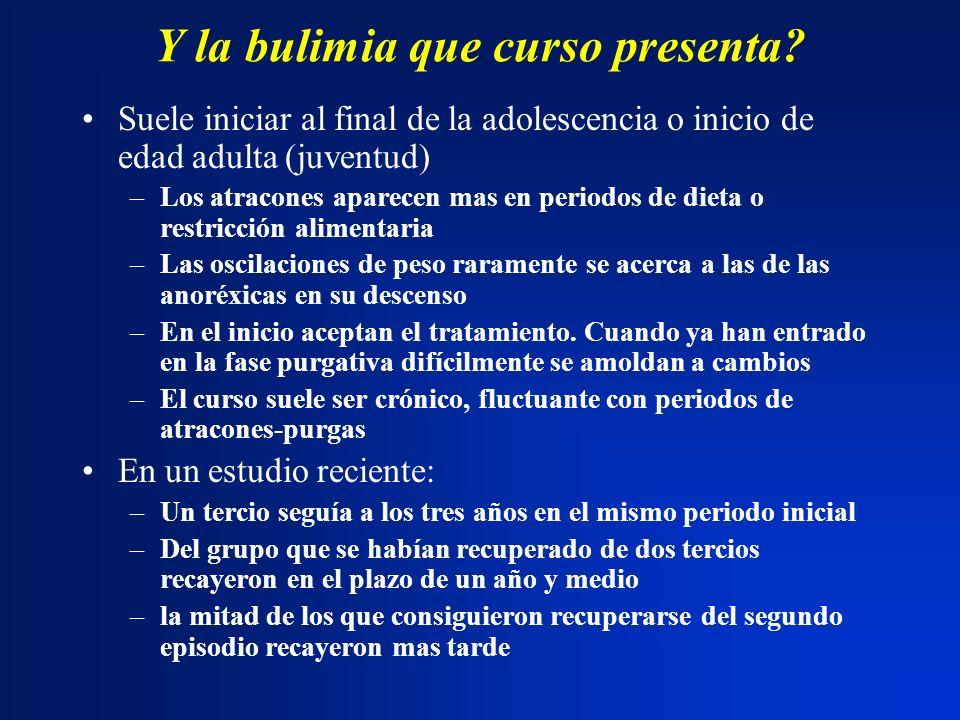 Y la bulimia que curso presenta? Suele iniciar al final de la adolescencia o inicio de edad adulta (juventud) –Los atracones aparecen mas en periodos