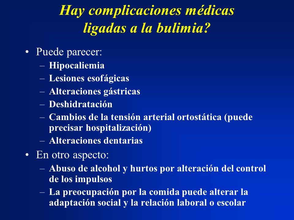 Hay complicaciones médicas ligadas a la bulimia? Puede parecer: –Hipocaliemia –Lesiones esofágicas –Alteraciones gástricas –Deshidratación –Cambios de