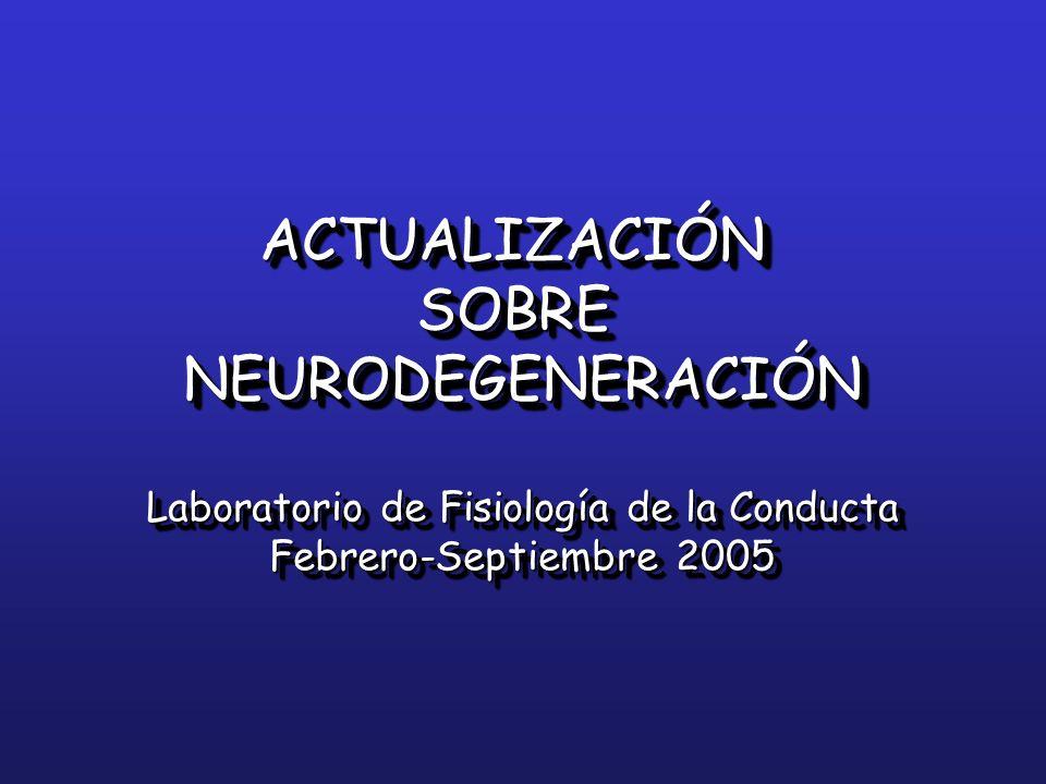 ACTUALIZACIÓNSOBRENEURODEGENERACIÓN Laboratorio de Fisiología de la Conducta Febrero-Septiembre 2005 ACTUALIZACIÓNSOBRENEURODEGENERACIÓN Laboratorio d