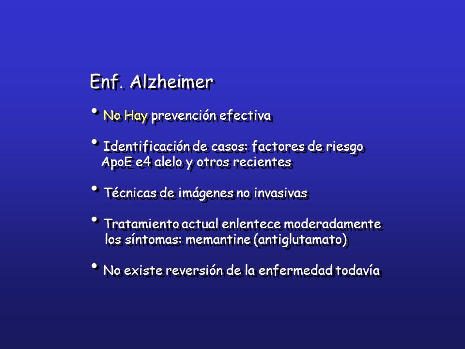 Enf. Alzheimer No Hay prevención efectiva Identificación de casos: factores de riesgo ApoE e4 alelo y otros recientes Técnicas de imágenes no invasiva