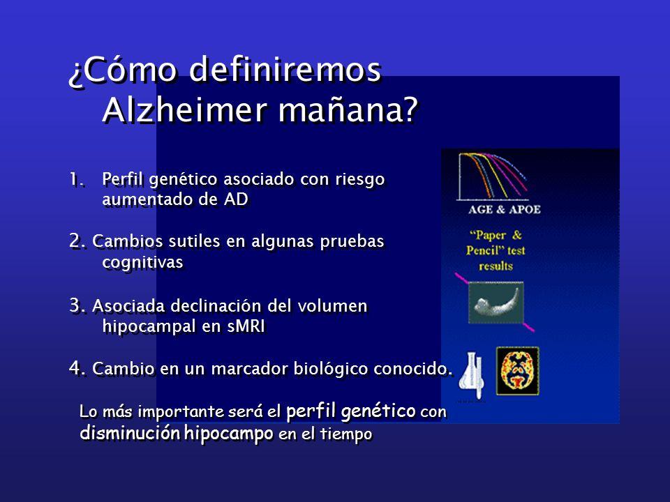 ¿Cómo definiremos Alzheimer mañana? 1.Perfil genético asociado con riesgo aumentado de AD 2. Cambios sutiles en algunas pruebas cognitivas 3. Asociada