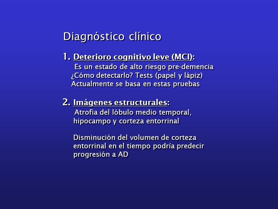 1. Deterioro cognitivo leve (MCI): Es un estado de alto riesgo pre-demencia ¿Cómo detectarlo? Tests (papel y lápiz) Actualmente se basa en estas prueb