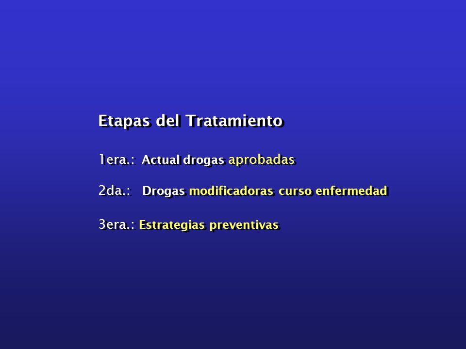 Etapas del Tratamiento 1era.: Actual drogas aprobadas 2da.: Drogas modificadoras curso enfermedad 3era.: Estrategias preventivas Etapas del Tratamient