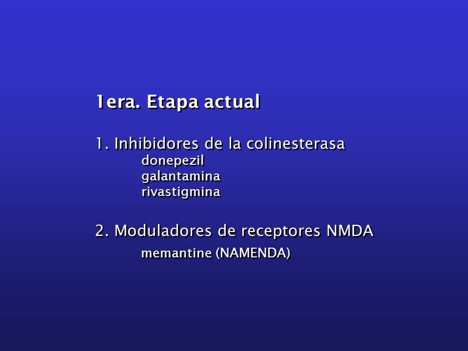 1era. Etapa actual 1. Inhibidores de la colinesterasa donepezil galantamina rivastigmina 2. Moduladores de receptores NMDA memantine (NAMENDA) 1era. E