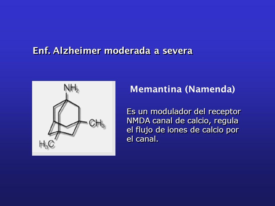 Es un modulador del receptor NMDA canal de calcio, regula el flujo de iones de calcio por el canal. Memantina (Namenda) Enf. Alzheimer moderada a seve