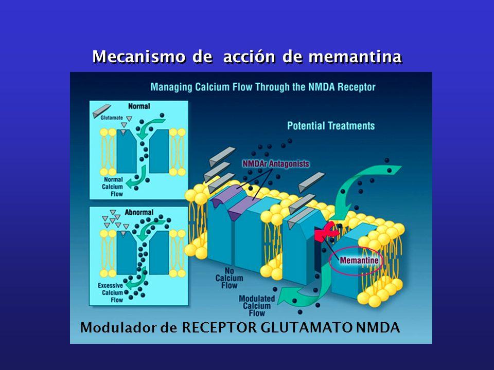 Mecanismo de acción de memantina Modulador de RECEPTOR GLUTAMATO NMDA