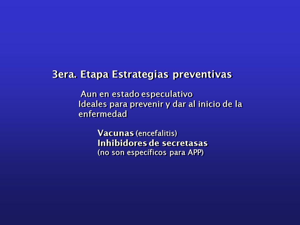 3era. Etapa Estrategias preventivas Aun en estado especulativo Ideales para prevenir y dar al inicio de la enfermedad Vacunas (encefalitis) Inhibidore