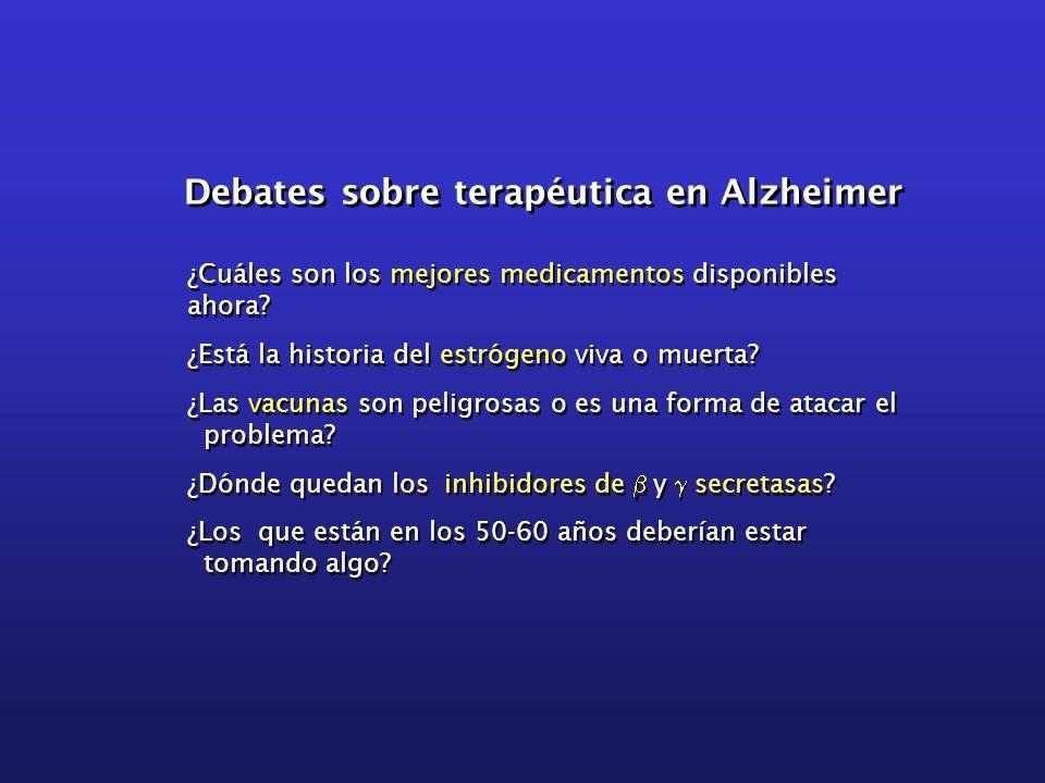 Debates sobre terapéutica en Alzheimer ¿Cuáles son los mejores medicamentos disponibles ahora? ¿Está la historia del estrógeno viva o muerta? ¿Las vac