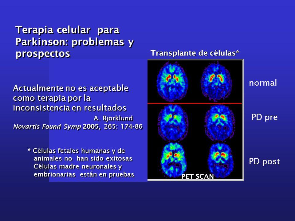 Transplante de células* normal PD pre PD post * Células fetales humanas y de animales no han sido exitosas Células madre neuronales y embrionarias est