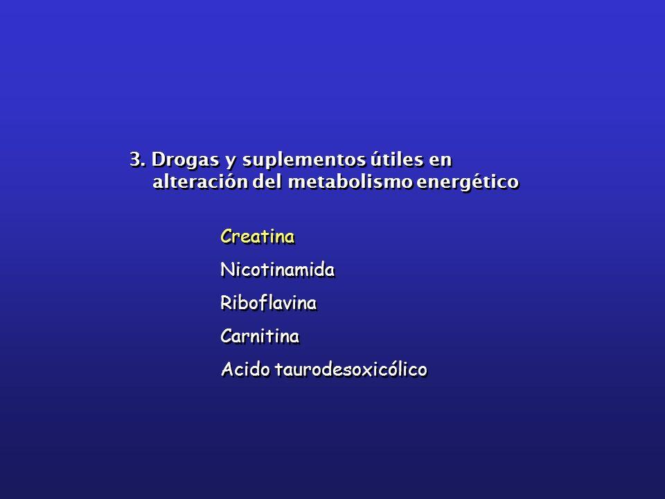 3. Drogas y suplementos útiles en alteración del metabolismo energético 3. Drogas y suplementos útiles en alteración del metabolismo energético Creati