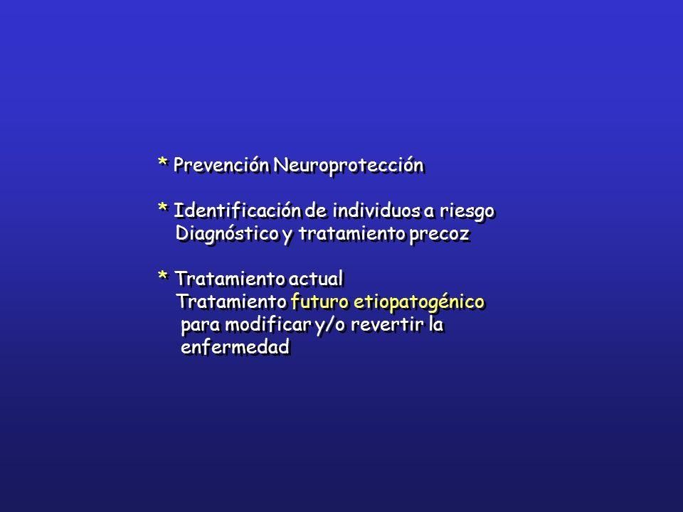 * Prevención Neuroprotección * Identificación de individuos a riesgo Diagnóstico y tratamiento precoz * Tratamiento actual Tratamiento futuro etiopato