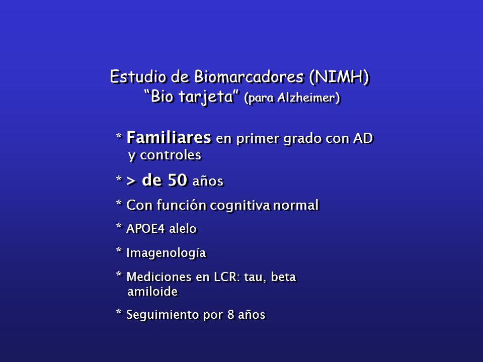 Estudio de Biomarcadores (NIMH) Bio tarjeta (para Alzheimer) Estudio de Biomarcadores (NIMH) Bio tarjeta (para Alzheimer) * Familiares en primer grado