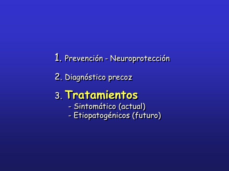 1. Prevención - Neuroprotección 2. Diagnóstico precoz 3. Tratamientos - Sintomático (actual) - Etiopatogénicos (futuro) 1. Prevención - Neuroprotecció