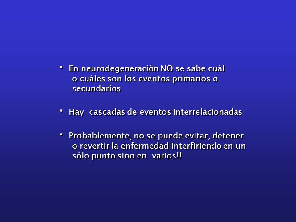 En neurodegeneración NO se sabe cuál o cuáles son los eventos primarios o secundarios Hay cascadas de eventos interrelacionadas Probablemente, no se p
