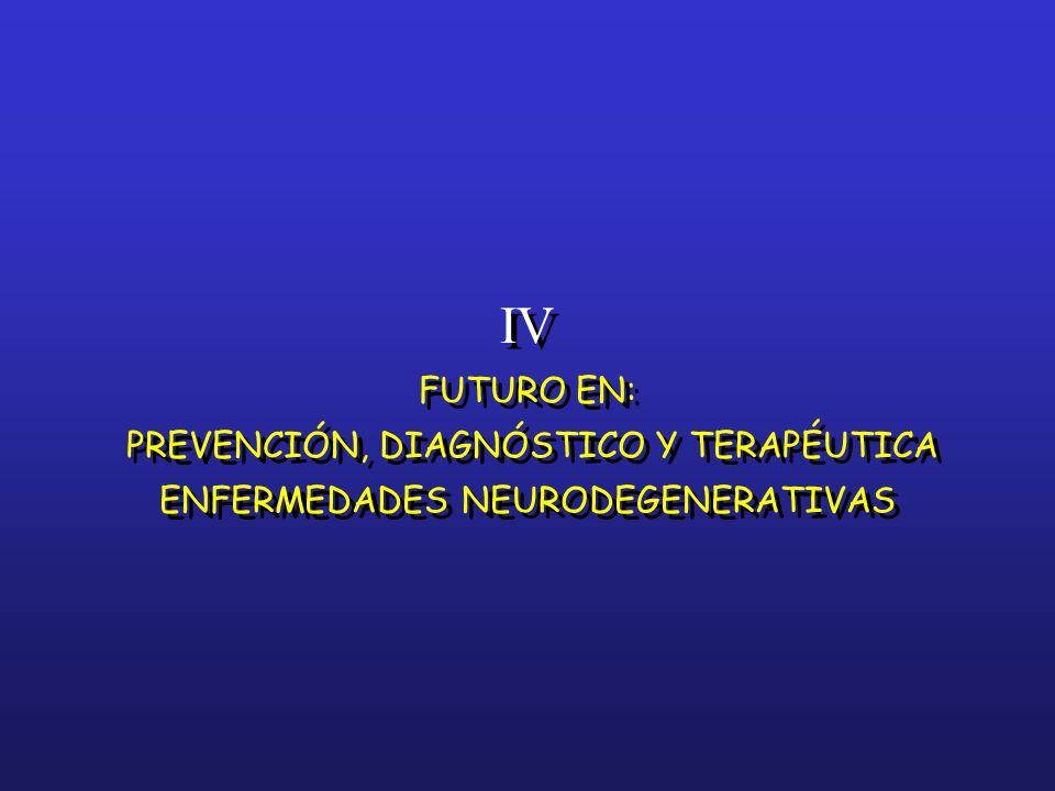 IV FUTURO EN: PREVENCIÓN, DIAGNÓSTICO Y TERAPÉUTICA ENFERMEDADES NEURODEGENERATIVAS IV FUTURO EN: PREVENCIÓN, DIAGNÓSTICO Y TERAPÉUTICA ENFERMEDADES N