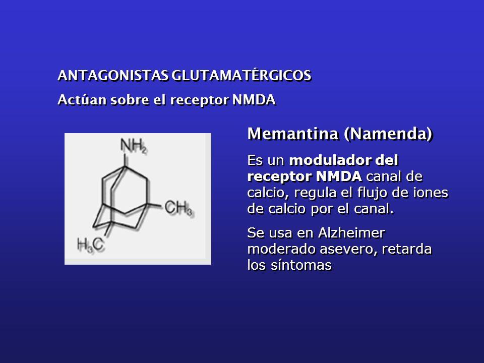 Es un modulador del receptor NMDA canal de calcio, regula el flujo de iones de calcio por el canal. Se usa en Alzheimer moderado asevero, retarda los