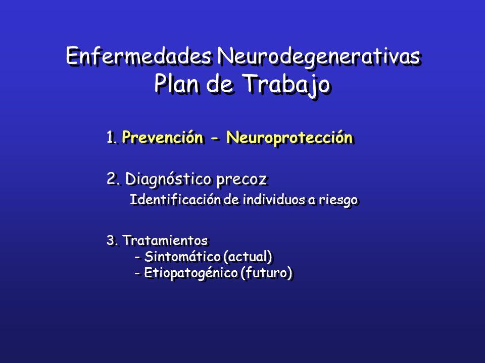 1. Prevención - Neuroprotección 2. Diagnóstico precoz Identificación de individuos a riesgo 3. Tratamientos - Sintomático (actual) - Etiopatogénico (f